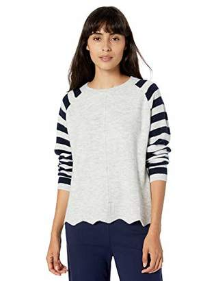 Love lili Pull Over Crew Neck Sweater with Striped Sleeves and Scalloped Hem