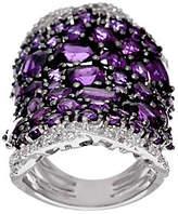 QVC Bold Multi-Cut Gemstone & White Zircon Sterling Silver Ring, 8.00 cttw