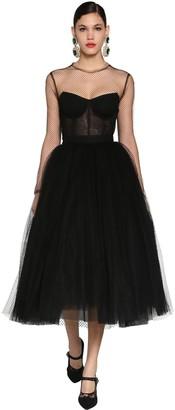 Dolce & Gabbana Corset Puff Skirt Tulle & Net Midi Dress