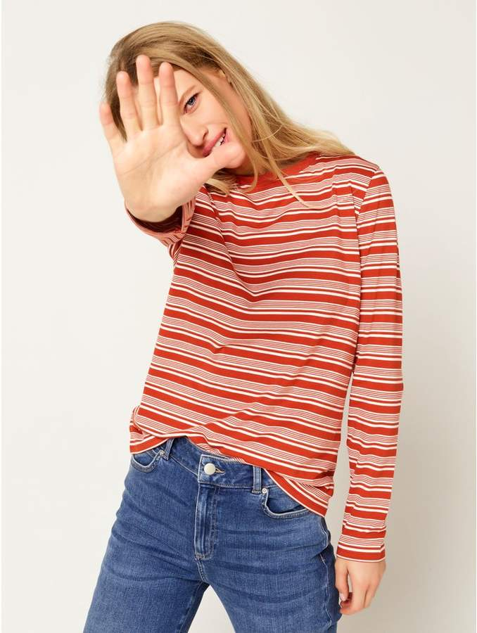 M&Co Stripe crew neck long sleeve top