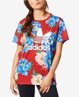 adidas Floral-Print Boyfriend T-Shirt