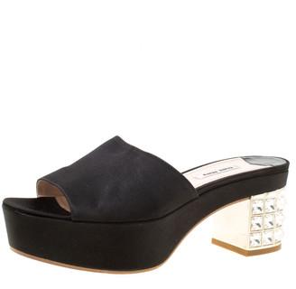 Miu Miu Black Satin Crystal Embellished Block Heel Slide Sandals Size 39