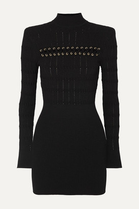 Balmain Lace-up Ribbed Pointelle-knit Mini Dress - Black