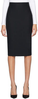 Alexander McQueen Black Leaf Crepe Pencil Skirt
