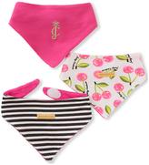 Juicy Couture Pink & Black Floral & Stripe Bib Set - Infant