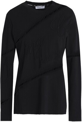 Opening Ceremony Open Knit-trimmed Embroidered Cotton-jersey Top