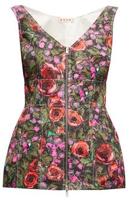Marni Zipped Floral-print Peplum-hem Faille Top - Womens - Pink Multi