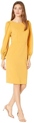 Calvin Klein Long Sleeve Sheath Dress (Ochre) Women's Dress