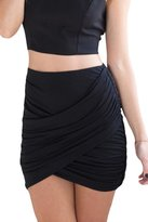 Pink Queen Womens Wrap Ruched Stretch Draped Skirt Short Mini Pleated Skirt