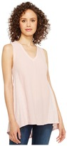 Heather Cotton Gauze V-Neck Panel Tank Top Women's Sleeveless