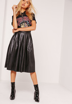 Missguided Premium Faux Leather Pleated Midi Skirt Black