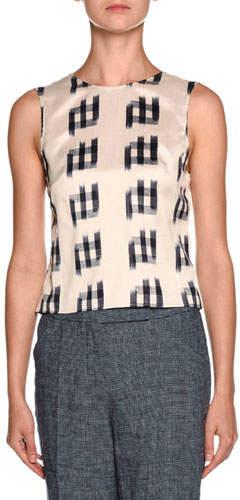 Giorgio Armani Shantung Sleeveless Tie-Back Blouse, White/Black