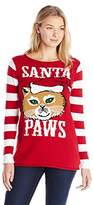 Ugly Christmas Sweater Juniors' Santa Paws Holiday Tunic Sweater
