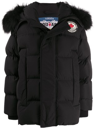 DSQUARED2 Faux-Fur Hood Padded Coat