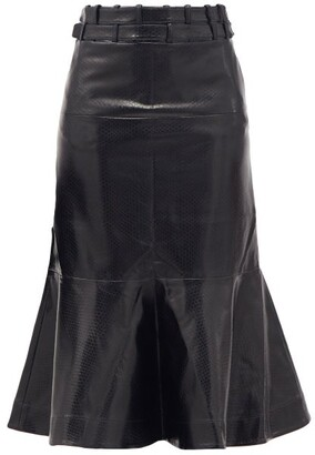 Palmer Harding Leuca Fluted-hem Python-effect Faux-leather Skirt - Black