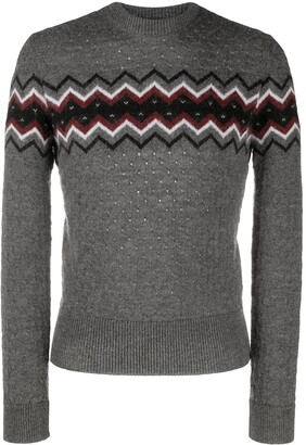 DSQUARED2 Perforated Intarsia-Knit Jumper