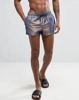 Asos Swim Shorts In Irridescent Metallic Super Short Length