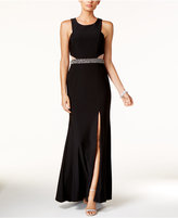 Xscape Evenings Petite Illusion Cutout Embellished Halter Gown