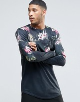 SikSilk Long Sleeve T-Shirt With In Floral Print