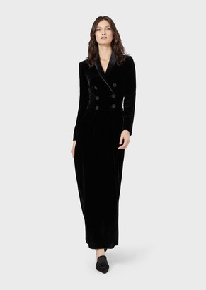 Giorgio Armani Velvet Double-Breasted Dress With Side Slit