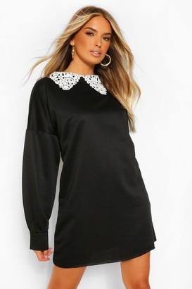 boohoo Lace Collar Sweat Dress