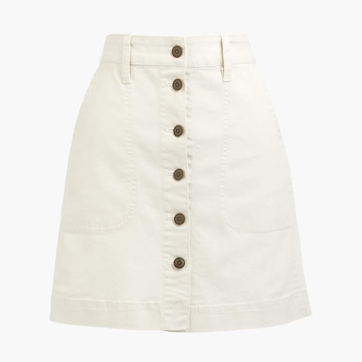 J.Crew Canvas button-front skirt
