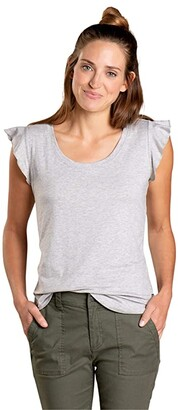 Toad&Co Rufflita II Tee (Heather Grey) Women's Clothing