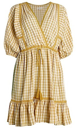 Max Studio Puff-Sleeve Gingham Peasant Dress