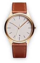 Uniform Wares C36 Women's date watch in PVD satin gold with black textured calf leather strap