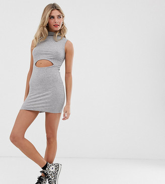 Another Reason high neck mini dress with cut out detail-Grey