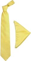 Forzieri Yellow Mini Blue Polkadot Printed Silk Tie & Pocket Square