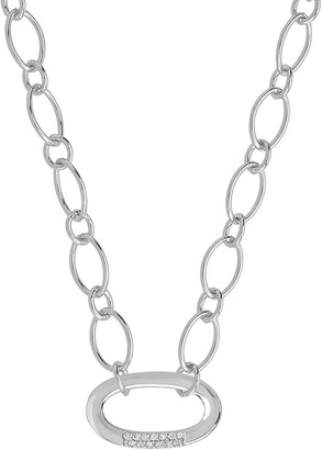 Sterling Forever Rhodium Plated Pave CZ Illusion Lock Pendant Necklace