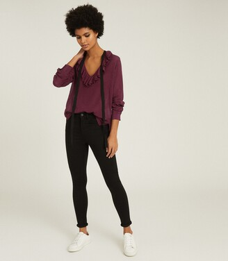 Reiss Mackenzie - Textured Blouse With Bow Detail in Berry