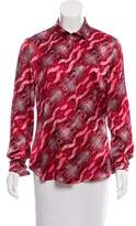 Just Cavalli Printed Long Sleeve Button-Up Top