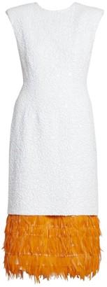 Dries Van Noten Beaded Feather-Hem Cocktail Dress