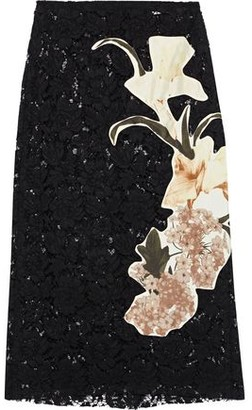 Valentino Floral-appliqued Silk Corded Lace Skirt