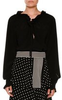 Stella McCartney Drawstring Ruffled-Trim Tunic Blouse, Black