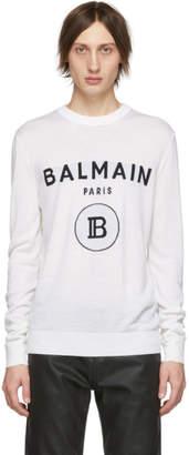 Balmain White Wool Logo Sweater