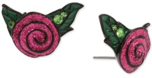 Betsey Johnson Black-Tone Pave Leaf & Glitter Rose Stud Earrings