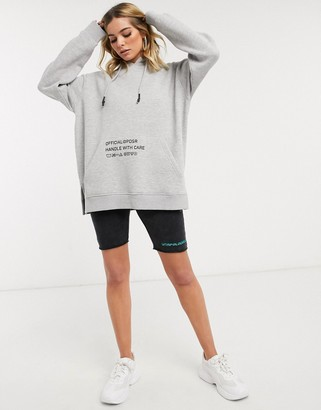 Public Desire oversized hoodie with wash care graphics
