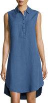 Joan Vass Button-Front High-Low Linen-Blend Shirtdress, Blue