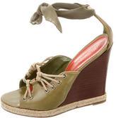 Saint Laurent Lace-Up Wedge Sandals