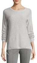 St. John Reverse Jersey Micro Sequined Sweater, Light Gray
