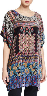 Johnny Was Aztec Burnout Velvet Short-Sleeve Tunic