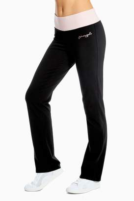 Pineapple Womens Black Contrast Band Boot Cut Jersey Trousers - Black