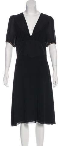 Chloé Silk Suede-Trimmed Dress