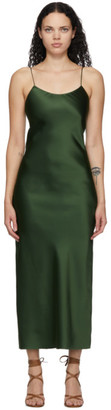Marina Moscone Green Heavy Satin Bias Slip Dress