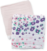 Swankie Blankie Two-Piece Burp Cloth Set, White/Pink