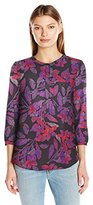 NYDJ Women's Floral 3/4 Sleeve Henley Pleat Back Blouse