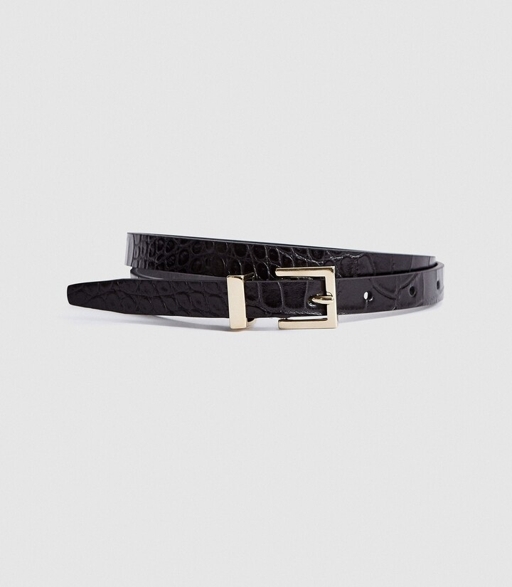 Thumbnail for your product : Reiss Olive - Leather Skinny Belt in Black